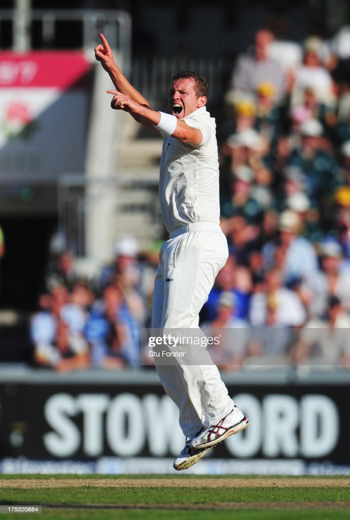 Peter Siddle of Australia celebrates the wicket of Tim Bresnan of England during day two of the 3rd Investec Ashes Test match between England and Australia at Emirates Old Trafford Cricket Ground on August 2, 2013 in Manchester, England.