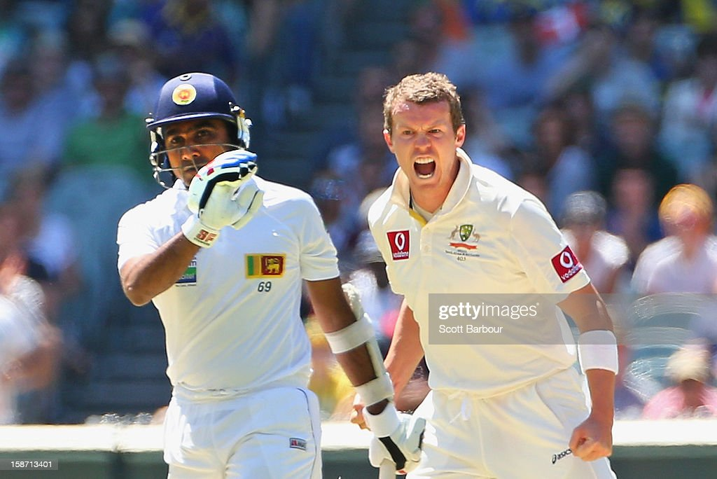 Peter Siddle of Australia celebrates with his team mates after dismissing Mahela Jayawardene of Sri Lanka during day one of the Second Test match...