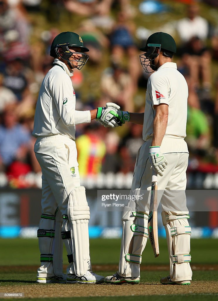 <a gi-track='captionPersonalityLinkClicked' href=/galleries/search?phrase=Peter+Siddle&family=editorial&specificpeople=2104718 ng-click='$event.stopPropagation()'>Peter Siddle</a> of Australia is congratulated by <a gi-track='captionPersonalityLinkClicked' href=/galleries/search?phrase=Adam+Voges&family=editorial&specificpeople=724770 ng-click='$event.stopPropagation()'>Adam Voges</a> of Australia after he reached 1000 test runs during day two of the Test match between New Zealand and Australia at Basin Reserve on February 13, 2016 in Wellington, New Zealand.