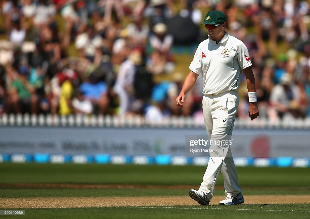 <a gi-track='captionPersonalityLinkClicked' href=/galleries/search?phrase=Peter+Siddle&family=editorial&specificpeople=2104718 ng-click='$event.stopPropagation()'>Peter Siddle</a> of Australia looks on during day three of the Test match between New Zealand and Australia at Basin Reserve on February 14, 2016 in Wellington, New Zealand.