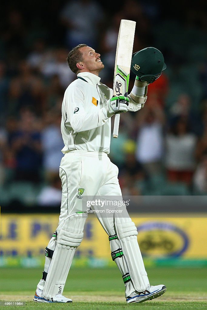 <a gi-track='captionPersonalityLinkClicked' href=/galleries/search?phrase=Peter+Siddle&family=editorial&specificpeople=2104718 ng-click='$event.stopPropagation()'>Peter Siddle</a> of Australia looks to the sky after hitting the winning runs during day three of the Third Test match between Australia and New Zealand at Adelaide Oval on November 29, 2015 in Adelaide, Australia.