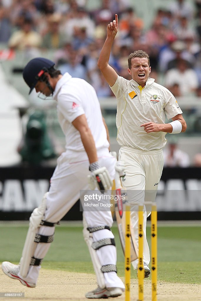 <a gi-track='captionPersonalityLinkClicked' href=/galleries/search?phrase=Peter+Siddle&family=editorial&specificpeople=2104718 ng-click='$event.stopPropagation()'>Peter Siddle</a> of Australia reacts after dismissing <a gi-track='captionPersonalityLinkClicked' href=/galleries/search?phrase=Alastair+Cook+-+Cricket+Player&family=editorial&specificpeople=571475 ng-click='$event.stopPropagation()'>Alastair Cook</a> of England during day one of the Fourth Ashes Test Match between Australia and England at Melbourne Cricket Ground on December 26, 2013 in Melbourne, Australia.
