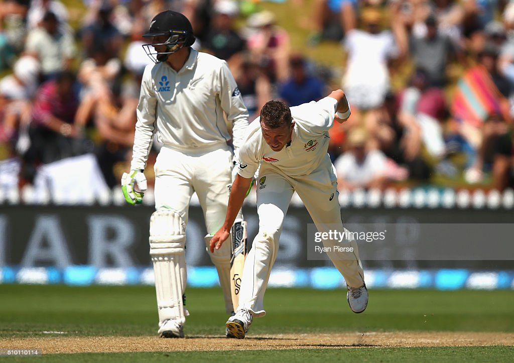 <a gi-track='captionPersonalityLinkClicked' href=/galleries/search?phrase=Peter+Siddle&family=editorial&specificpeople=2104718 ng-click='$event.stopPropagation()'>Peter Siddle</a> of Australia reacts on his follow through while bowling during day three of the Test match between New Zealand and Australia at Basin Reserve on February 14, 2016 in Wellington, New Zealand.