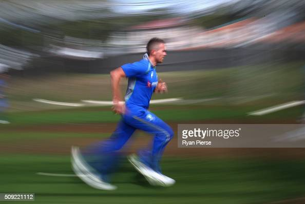 Peter Siddle of Australia runs in to bowl during an Australian nets session at Basin Reserve on February 11 2016 in Wellington New Zealand