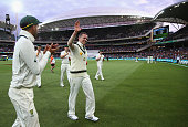 Peter Siddle of Australia walks form the ground after claiming his 200th Test Wicket during day one of the Third Test match between Australia and New...