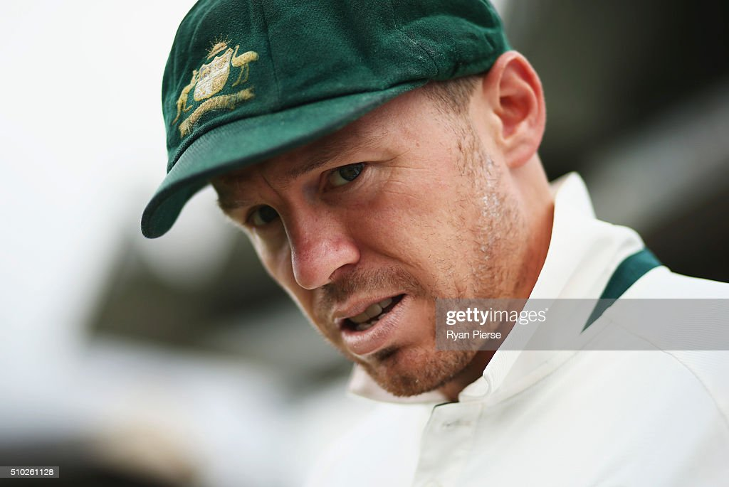 <a gi-track='captionPersonalityLinkClicked' href=/galleries/search?phrase=Peter+Siddle&family=editorial&specificpeople=2104718 ng-click='$event.stopPropagation()'>Peter Siddle</a> of Australia walks out to field during day four of the Test match between New Zealand and Australia at Basin Reserve on February 15, 2016 in Wellington, New Zealand.