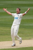 Peter Siddle of the Bushrangers appeals unsuccessfully for an LBW against David Warner of the Blues during day two of the Sheffield Shield match...