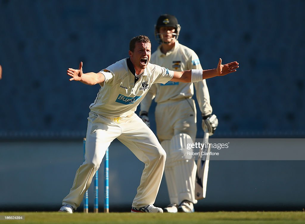 <a gi-track='captionPersonalityLinkClicked' href=/galleries/search?phrase=Peter+Siddle&family=editorial&specificpeople=2104718 ng-click='$event.stopPropagation()'>Peter Siddle</a> of the Bushrangers appeals unsuccessfully for the wicket of Cameron Bancroft of the Warriors during day three of the Sheffield Shield match between the Victoria Bushrangers and the Western Australia Warriors at Melbourne Cricket Ground on November 1, 2013 in Melbourne, Australia.