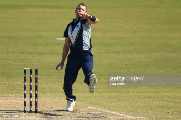 Peter Siddle of the Bushrangers bowls during the JLT One Day Cup match between Victoria and Tasmania at WACA on October 4 2017 in Perth Australia