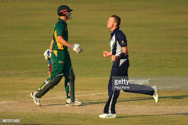 Peter Siddle of the Bushrangers celebrates the wicket of Simon Milenko of the Tigers during the JLT One Day Cup match between Victoria and Tasmania...
