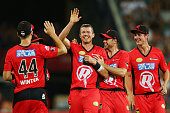 Peter Siddle of the Renegades celebrates with Nathan Rimmington his wicket of Jonothan Wells of the Hurricanes during the Big Bash League match...