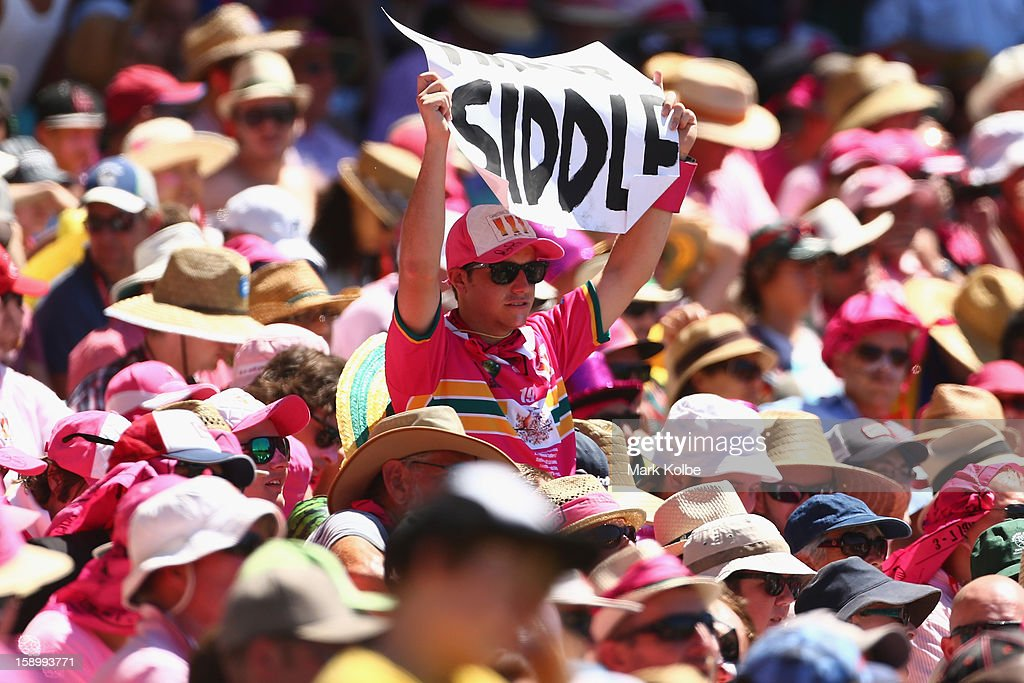A Peter Siddle supporter in the crowd holds up a sign during day three of the Third Test match between Australia and Sri Lanka at Sydney Cricket Ground on January 5, 2013 in Sydney, Australia.