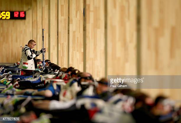 Peter Sidi of Hungary prepares in the 50m Rifle Prone Men's Qualification Shooting during day six of the Baku 2015 European Games at the Baku...