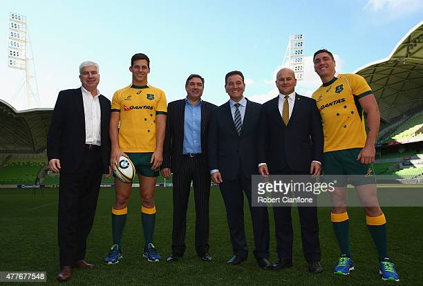 Peter Sidwell Luke Jones Andrew Cox John Eren Rob Clarke and Sean McMahon pose after an ARU press conference at AAMI Park on June 19 2015 in...