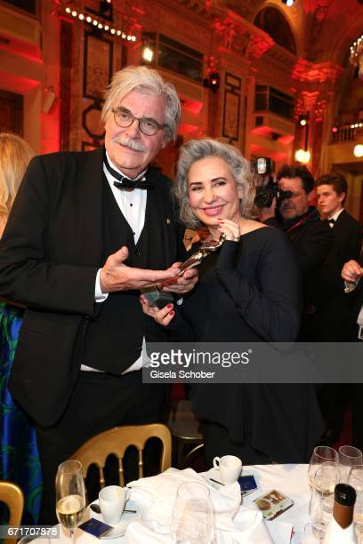 Peter Simonischek and his wife Brigitte Karner wth award during the ROMY award at Hofburg Vienna on April 22 2017 in Vienna Austria
