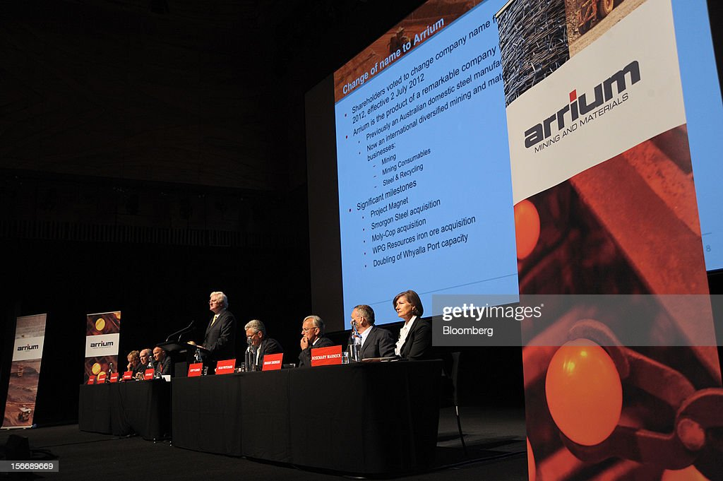 Peter Smedley, chairman of Arrium Ltd., center, speaks as other members of the board look on during the company's annual general meeting in Melbourne, Australia, on Monday, Nov. 19, 2012. Arrium, which rebuffed a A$1.2 billion ($1.24 billion) takeover offer from a Noble Group Ltd. and Posco-led consortium last month, said Geoff Plummer will step down as chief executive officer by the end of next year. Photographer: Carla Gottgens/Bloomberg via Getty Images