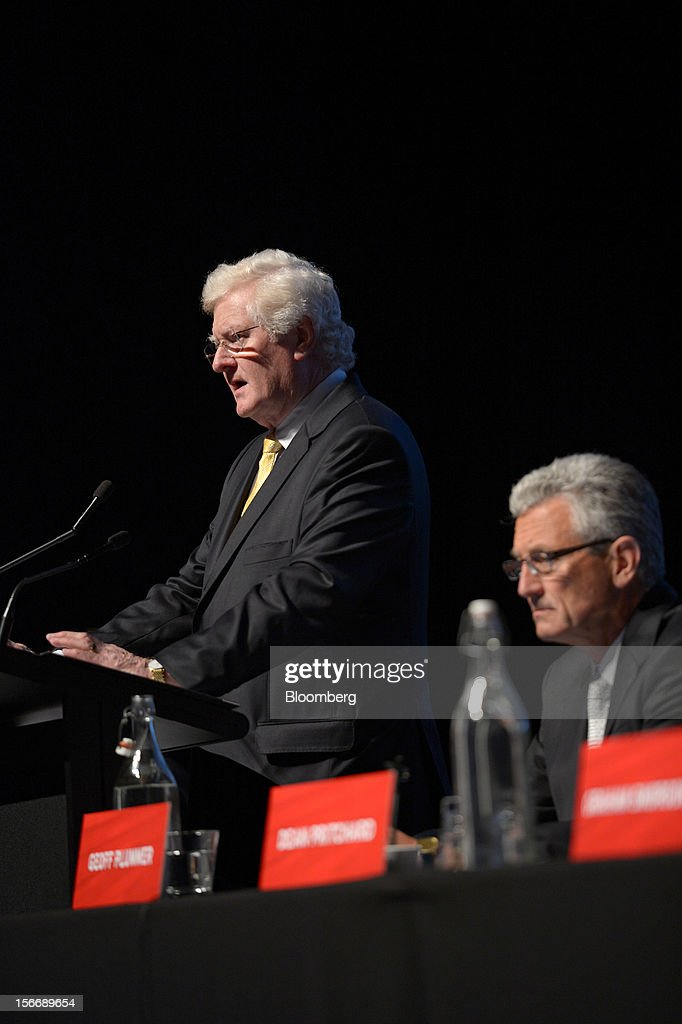 Peter Smedley, chairman of Arrium Ltd., left, speaks as Geoffrey 'Geoff' Plummer, chief executive officer, looks on during the company's annual general meeting in Melbourne, Australia, on Monday, Nov. 19, 2012. Arrium, which rebuffed a A$1.2 billion ($1.24 billion) takeover offer from a Noble Group Ltd. and Posco-led consortium last month, said Plummer will step down as chief executive officer by the end of next year. Photographer: Carla Gottgens/Bloomberg via Getty Images