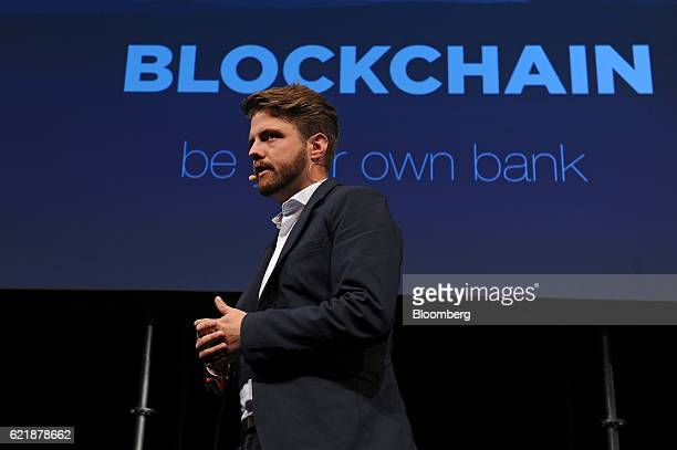 Peter Smith chief executive officer of Blockchain Ltd speaks during the Lisbon Web Summit in Lisbon Portugal on Tuesday Nov 8 2016 The government is...