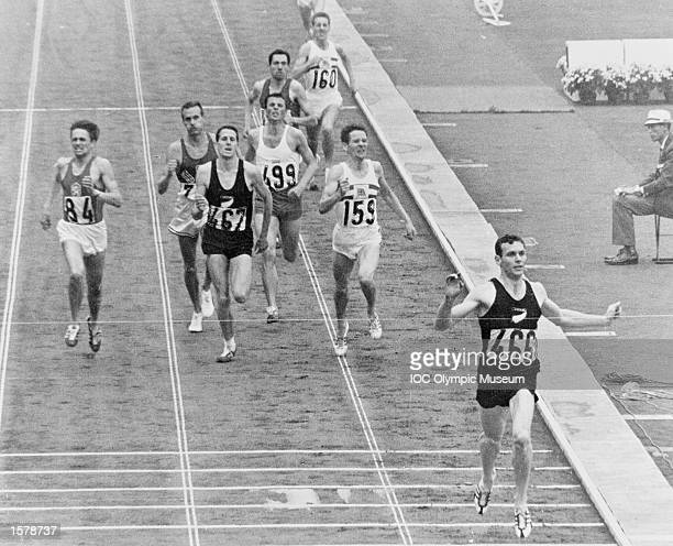 Peter Snell of New Zealands wins the 1500 metres ahead of Josef Odlozil of Czechoslovakia and fellow Zealander John Davies at the 1964 Olympic Games...