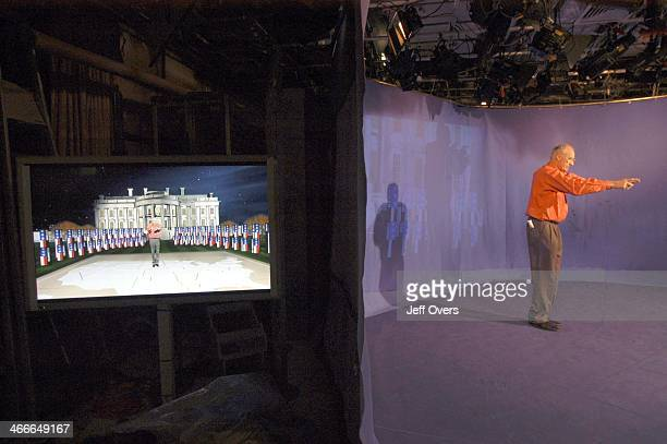 Peter Snow rehearses at BBC Millbank in front of a bluescreen for the BBC programme US Election 2004 transmitting from 2350 on Photo taken