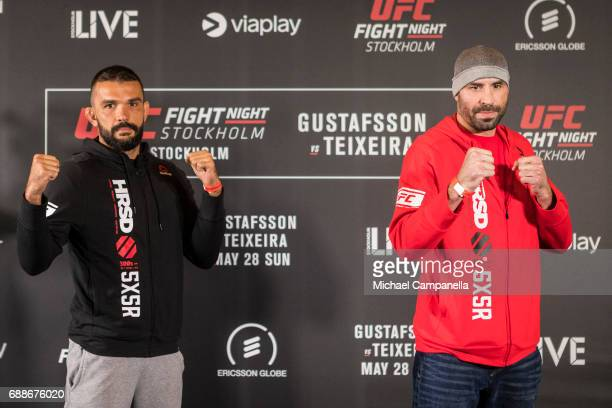 Peter Sobotta and Ben Saunders face off during the UFC Fight Night Ultimate Media Day at Ericsson Globe on May 26 2017 in Stockholm Sweden