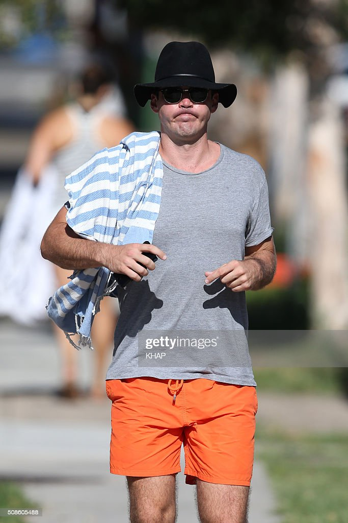 Peter Stefanovic sighted after having lunch with girlfriend Sylvia Jeffreys (not pictured) on January 31, 2016 at North Bondi Fish, Sydney, Australia.