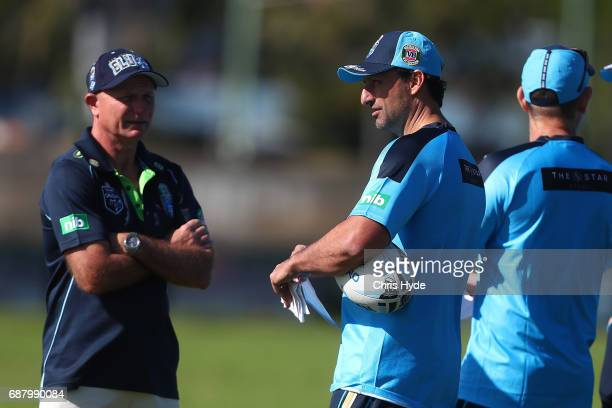 Peter Sterling and Coach Laurie Daley talk during a New South Wales Blues State of Origin training session at Cudgen Leagues Club on May 25 2017 in...