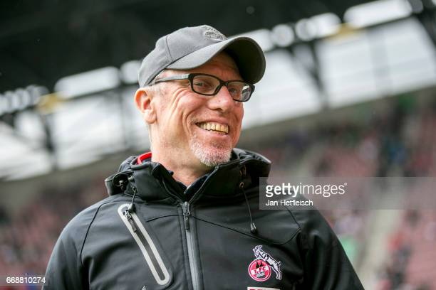 Peter Stoeger head coach of Cologne is seen during the Bundesliga match between FC Augsburg and 1 FC Koeln at WWK Arena on April 15 2017 in Augsburg...