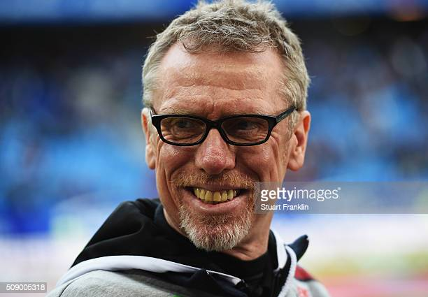 Peter Stoeger head coach of Cologne looks on during the Bundesliga match between Hamburger SV and 1 FC Koeln at Volksparkstadion on February 7 2016...