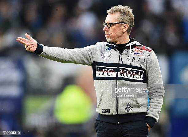 Peter Stoeger head coach of Cologne reacts during the Bundesliga match between Hamburger SV and 1 FC Koeln at Volksparkstadion on February 7 2016 in...