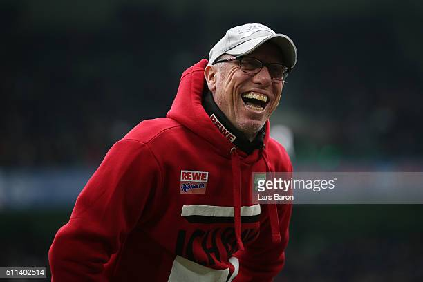 Peter Stoeger head coach of Koeln looks on prior to the Bundesliga match between Borussia Moenchengladbach and 1 FC Koeln at BorussiaPark on February...