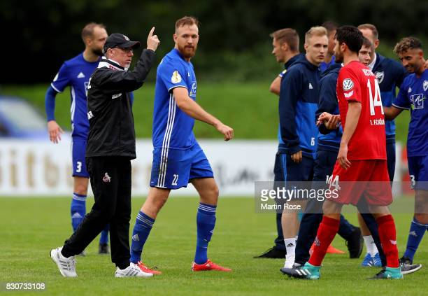 Peter Stoeger head coach of Koeln reacts after the DFB Cup first round match between Leher TS and 1 FC Koeln at Nordseestadion on August 12 2017 in...