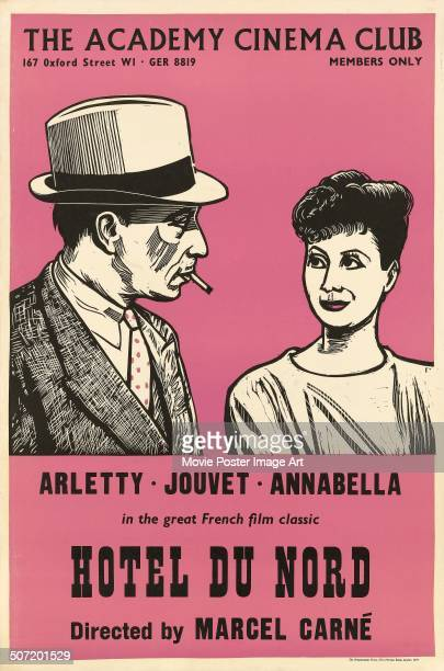 A Peter Strausfeld designed poster for the Academy Cinema screening of Marcel Carné's 1938 drama 'Hotel du Nord' starring Arletty and Louis Jouvet