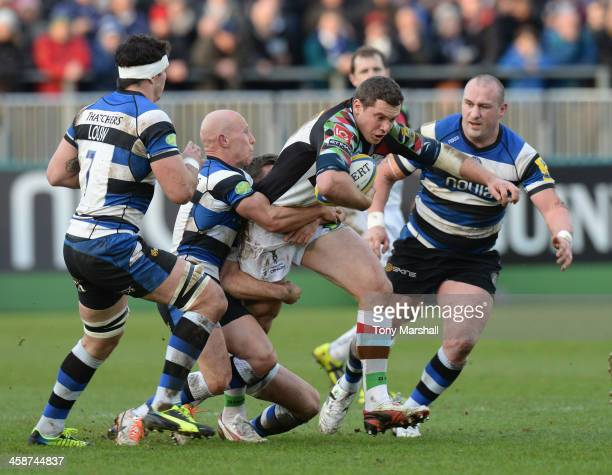 Peter Stringer of Bath tackles Tim Molenaar of Harlequins during the Aviva Premiership match between Bath and Harlequins at Recreation Ground on...