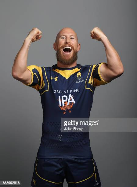 Peter Stringer of Worcester celebrates whilst posing for a portrait during the Worcester Warriors Photocall for the 20172018 Aviva Premiership Rugby...