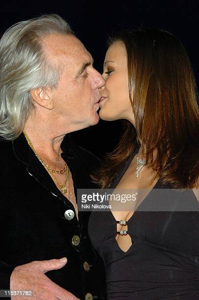 Peter Stringfellow and Bella Wright during 'Hell's Kitchen II' Day 2 Arrivals at The Old Truman Brewery in London Great Britain