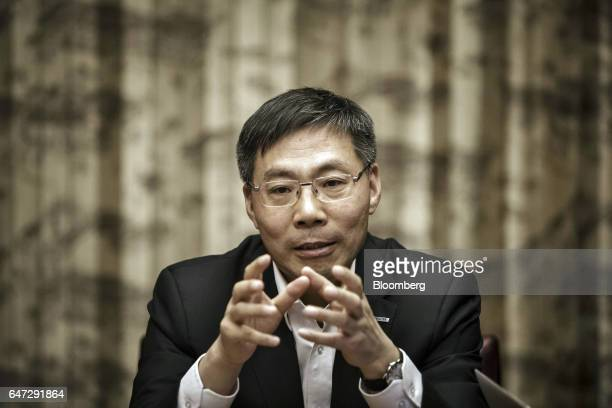 Peter Sun chairman and chief executive officer of Inspur Group Co speaks during an interview in Beijing China on Thursday March 2 2017 Inspur...