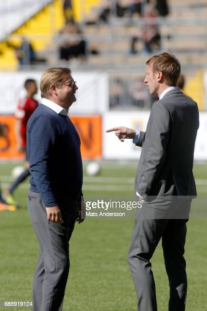 Peter Swardh head coach of Kalmar FF and Graham Potter head coach of Ostersunds FK during the Allsvenskan match between Ostersunds FK and Kalmar FF...
