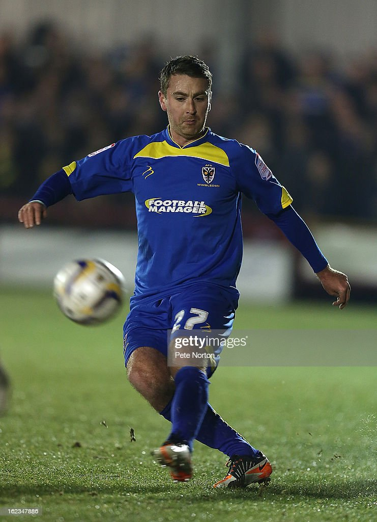 Peter Sweeney of AFC Wimbledon in action during the npower League Two match between AFC Wimbledon and Northampton Town at The Cherry Red Records Stadium on February 19, 2013 in Kingston upon Thames, England.