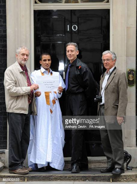 Peter Tatchell with Jail Henna Mohamed outside 10 Downing Street in London as they hope to raise awareness of the crisis situation in Western Sahara...