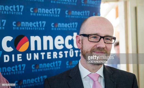 Peter Tauber secretary general of Germany's conservative Christian Democratic Union party poses at the CDU's election campaign centre at the party...