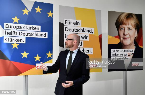 Peter Tauber secretary general of Germany's conservative Christian Democratic Union speaks during an official presentation of his party's election...