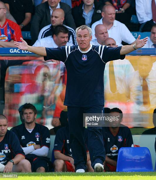 Peter Taylor manager of Crystal Palace gestures from the sidelines during the CocaCola Championship match between Crystal Palace and Charlton at...