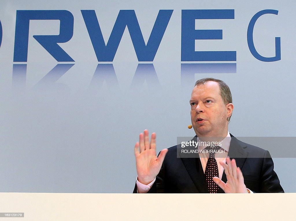 Peter Terium, chairman of Germany's second biggest-power supplier RWE, speaks during the annual press conference on March 5, 2013 in Essen, western Germany. The energy giant RWE announced on March 5, 2013 that they have seen a massive drop in profits for 2012.