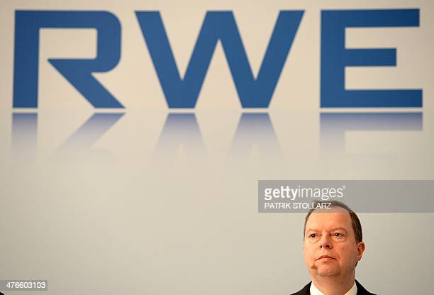 Peter Terium chairman of Germany's second biggestpower supplier RWE attends the annual press conference on March 4 2014 in Essen western Germany RWE...