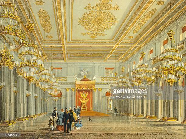 Peter the Great Memorial Hall The Winter Palace St Petersburg by Vasily S Sadovnikov Russia 19th century Lithograph