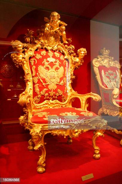 Peter the Great's throne inside Kremlin Armoury.