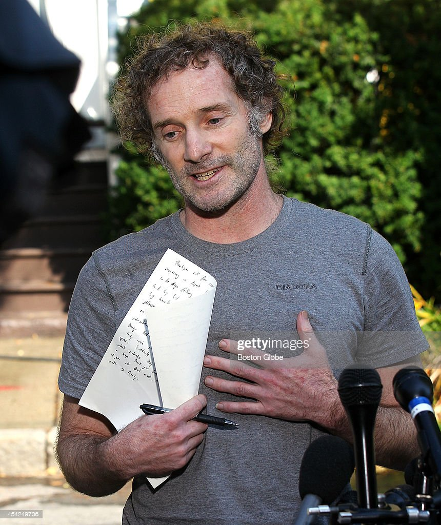 Peter Theo Curtis makes a statement to the media down the street from his family's home on August 27, 2014. Curtis was released on August 24, 2014 after nearly two years in captivity in Syria.