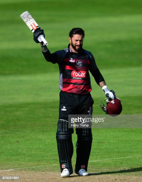Peter Trego of Somerset celebrates his century during the Royal London OneDay Cup match between Somerset and Kent at The Cooper Associates County...