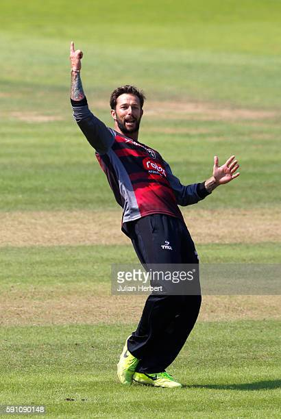Peter Trego of Somerset celebrates the wicket of Ross Whiteley of Worcestershire during the Royal London OneDay Cup Quarter Final between Somerset...